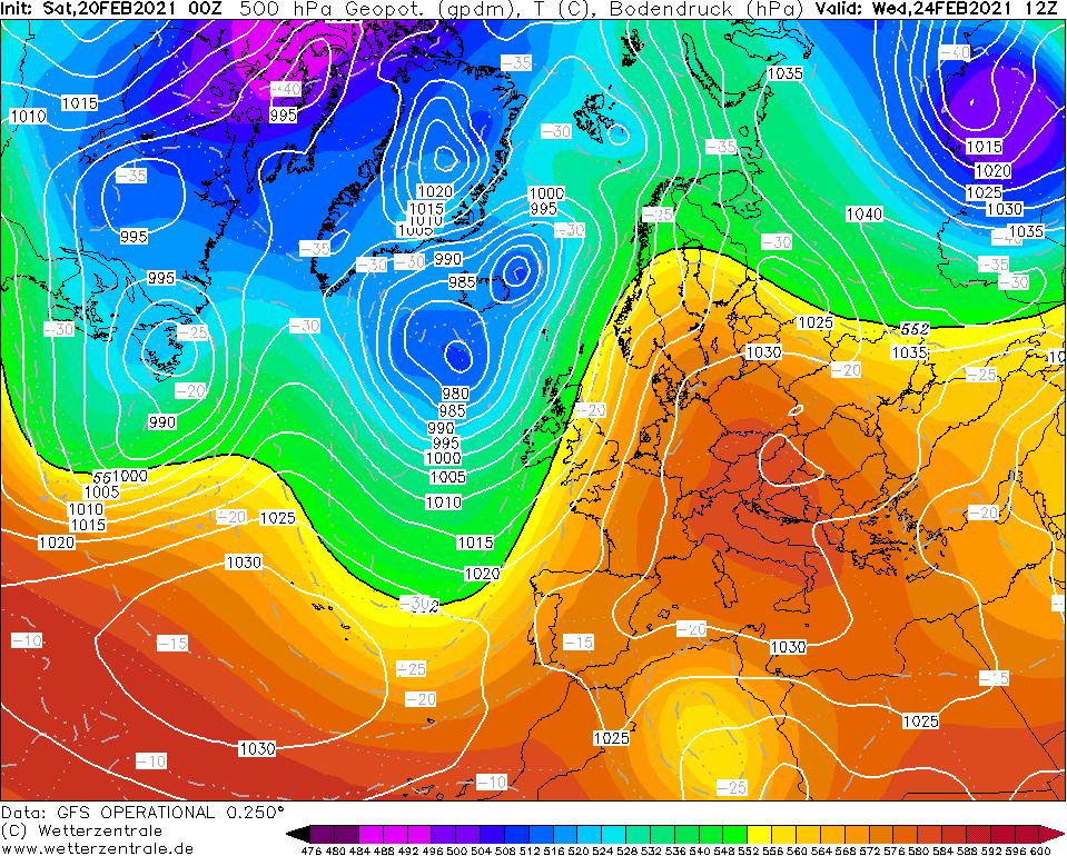 Prognoza pola ciśnienia i geopotencjału dla Europejskiego Obszaru Synoptycznego i rejonów przyległych.