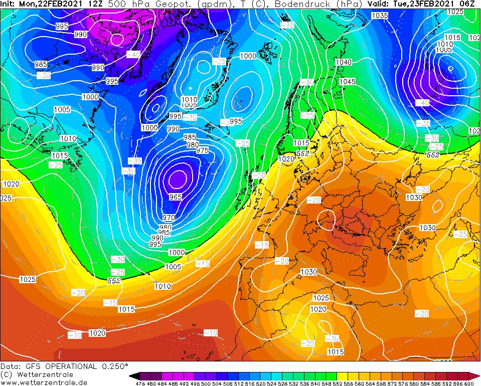 Topografia baryczna 500 hPa, 23.02.2021