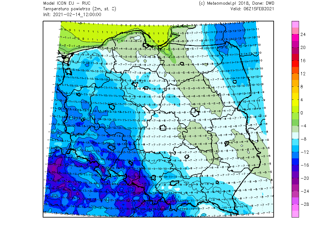 Prognozowana temperatura powietrza na wysokości 2 metrów według modelu ICON rano w poniedziałek