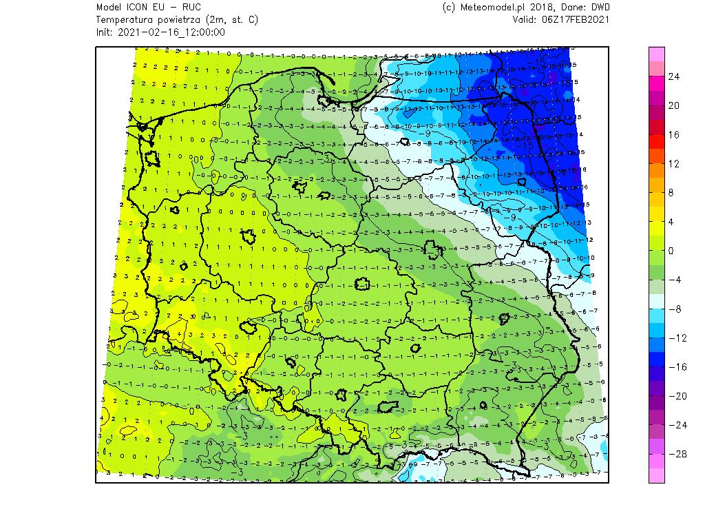 Temperatura w środę na obszarze Polski. Model ICON.
