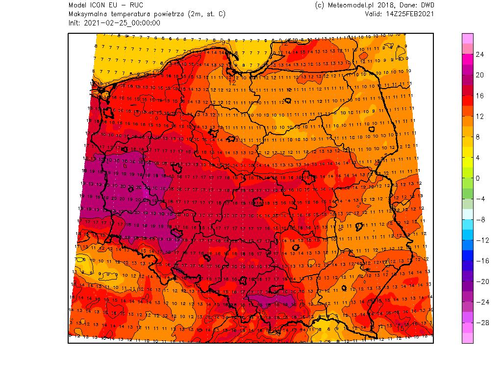 Pogoda. Temperatura maksymalna 25 lutego 2021.
