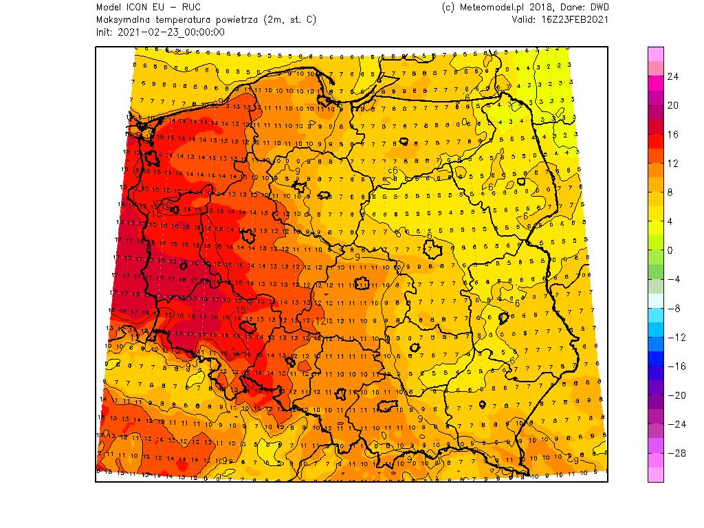 Pogoda. Temperatura we wtorek na obszarze Polski według modelu ICON.