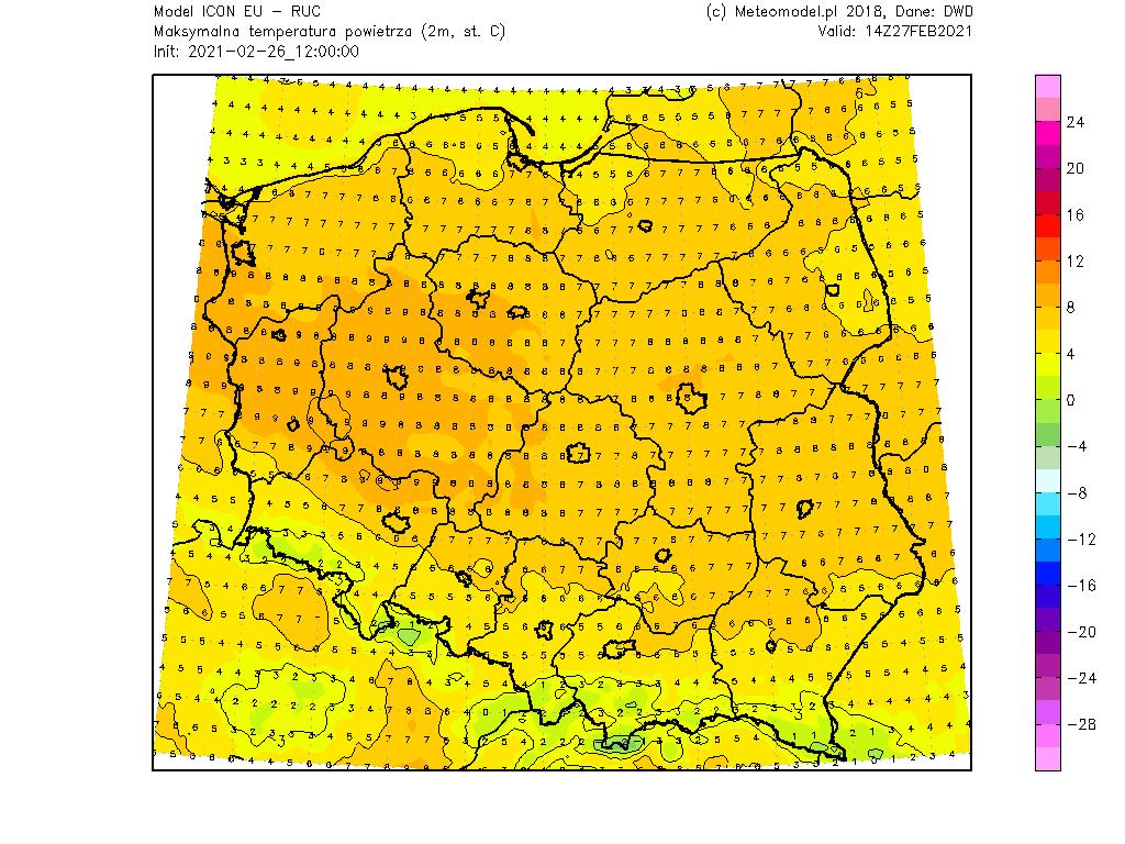 Pogoda. Prognoza maksymalna temperatura powietrza na 5 dni dla Polski.