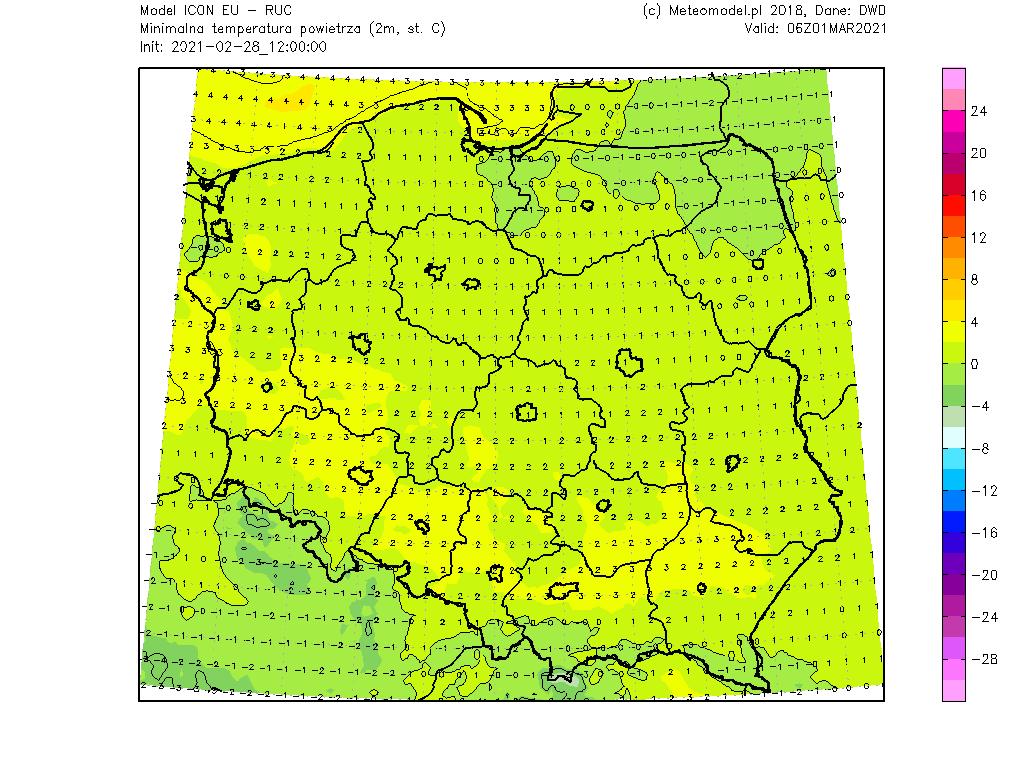 Pogoda. Temperatura w nocy nad Polską