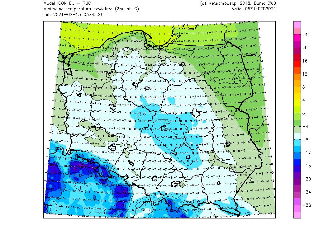 Temperatura minimalna Polska