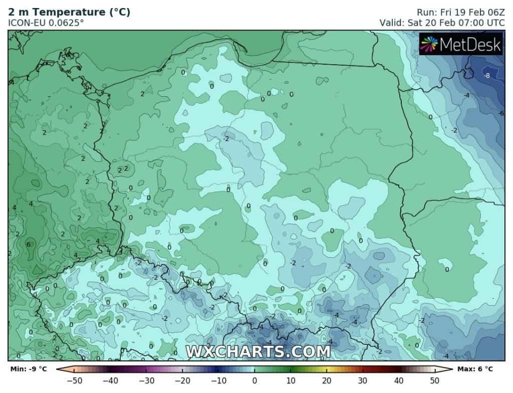 Dodatnie temperatury w nocy nad Polską