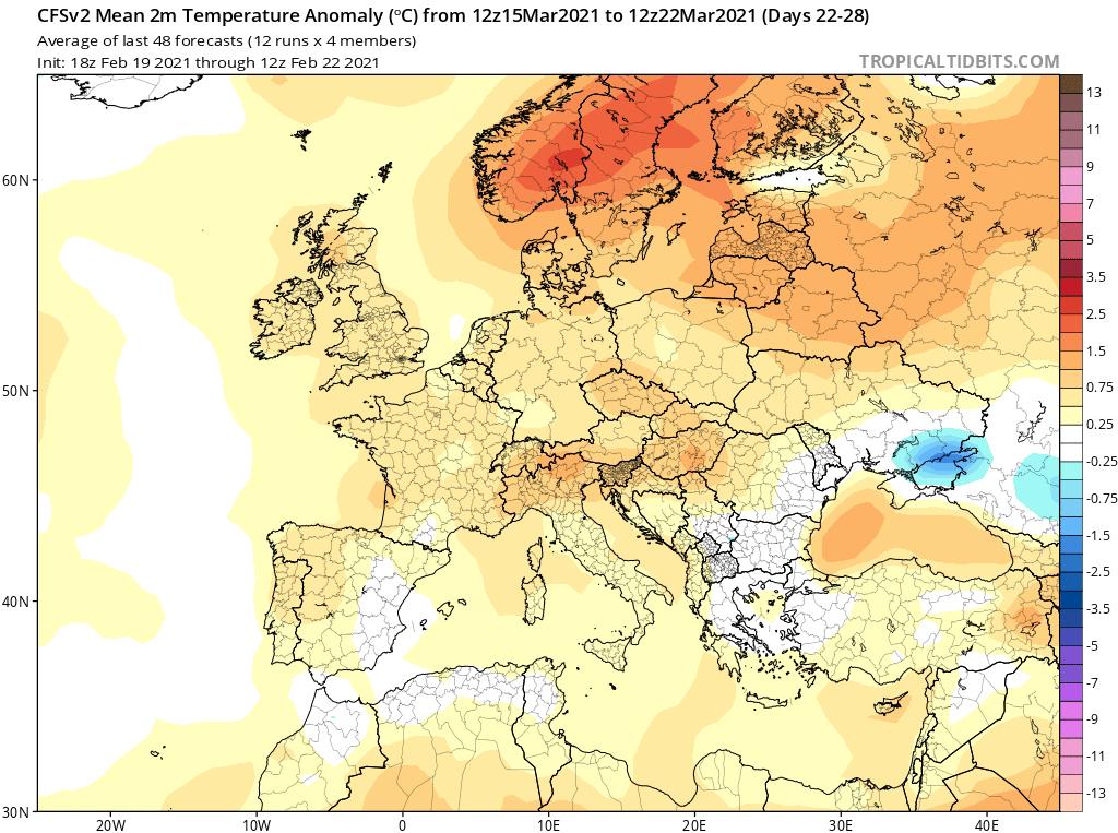 Anomalia temperatury na marzec 2021