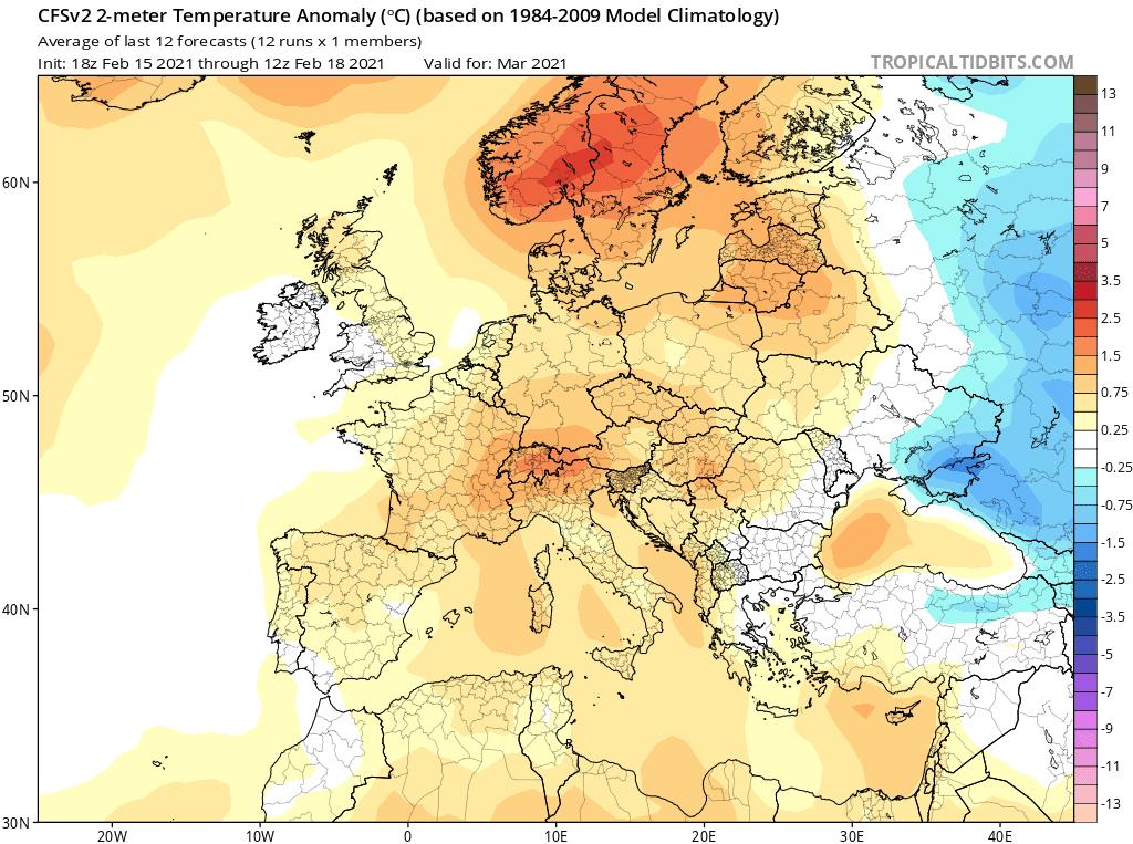 Pogoda długoterminowa. Prognoza pogody, CFS, marzec 2021 dla Polski