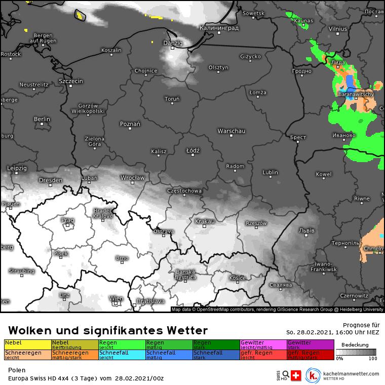 Chmury i deszcz Polska