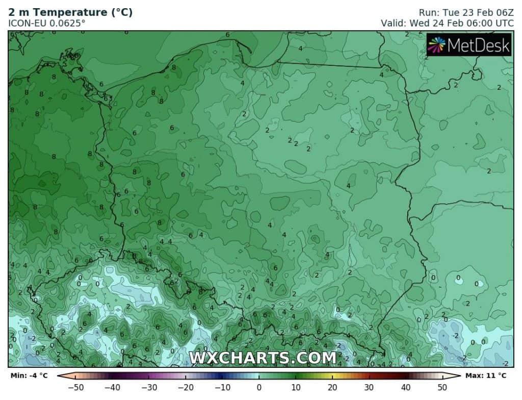 Ciepła noc w Polsce