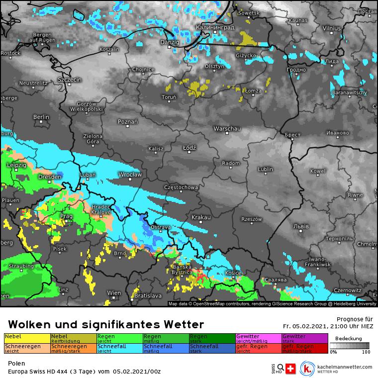 Opady śniegu w Polsce w nocy