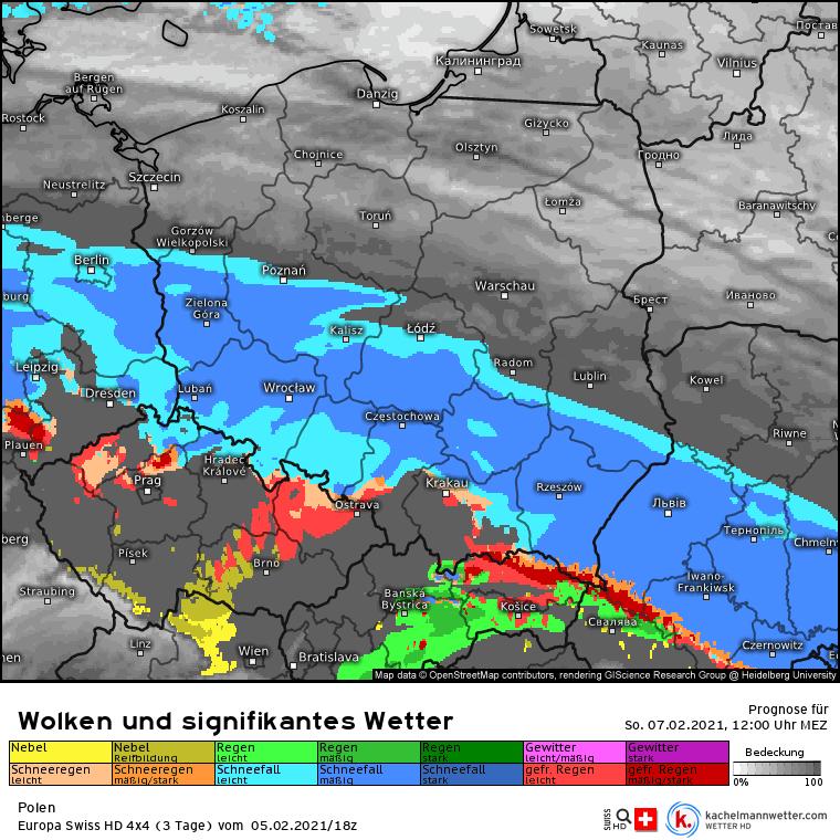 Intensywne opady śniegu niedziela 07 lutego