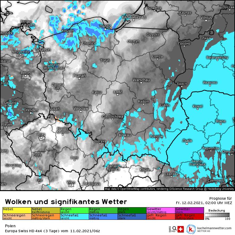 Opady śniegu w Polsce na noc