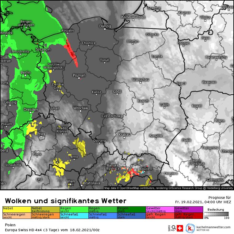 Opady nad Polską w nocy 18/19 lutego 2021