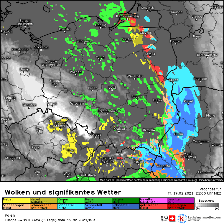 Opady w nocy w Polsce