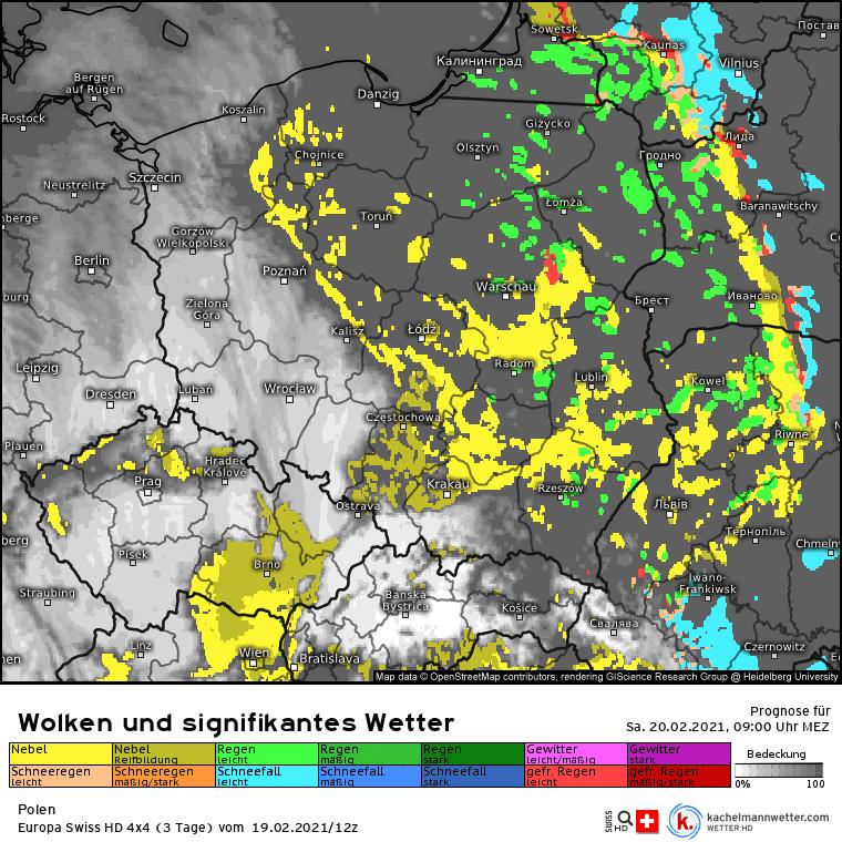 Opady i mgła dziś w Polsce. Wilgoć na wschodzie 20 lutego