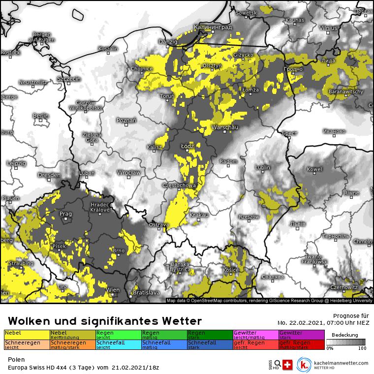 Mgły w poniedziałek w Polsce