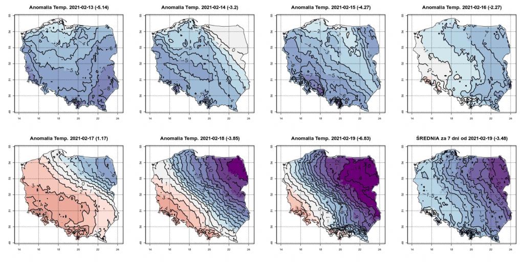 Pogoda. Prognoza anomalii temperatury na okres od 13.02.2021 do 19.02.2021 względem okresu referencyjnego 1981-2010.