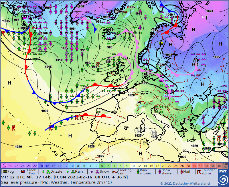 Fronty atmosferyczne w Europie w środę 17.02. Front okluzji przyniesie śnieżycę nad Polską