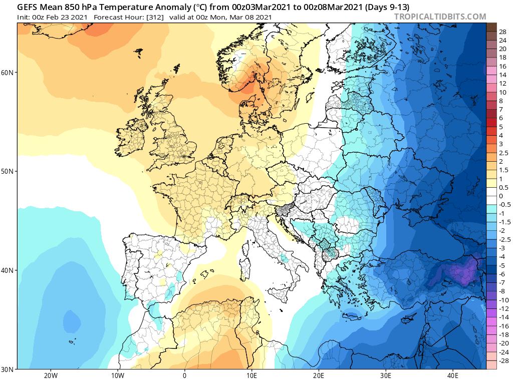 GEFS i chłodne okresy w marcu 2021, Polska