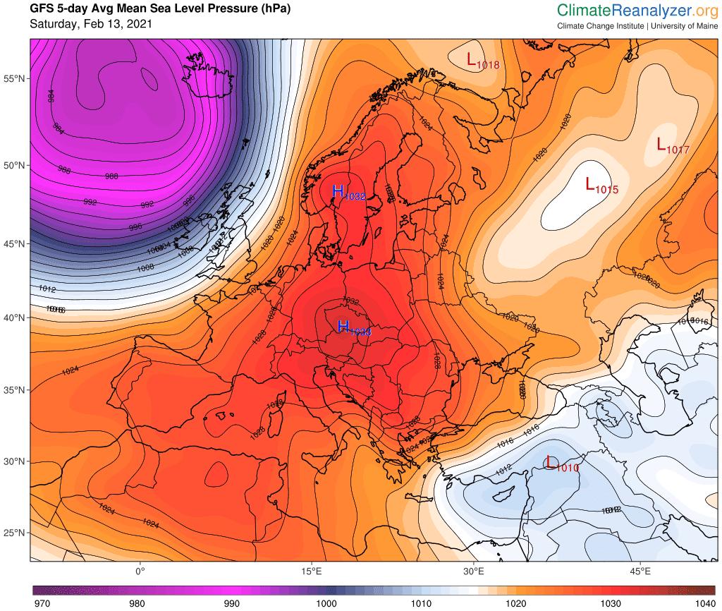 Prognoza średniej wartości ciśnienia atmosferycznego na najbliższe 5 dni.