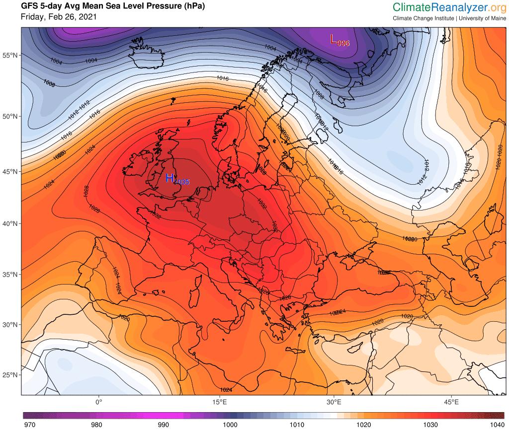 Prognozowana średnia wartość ciśnienia atmosferycznego na najbliższe 5 dni.