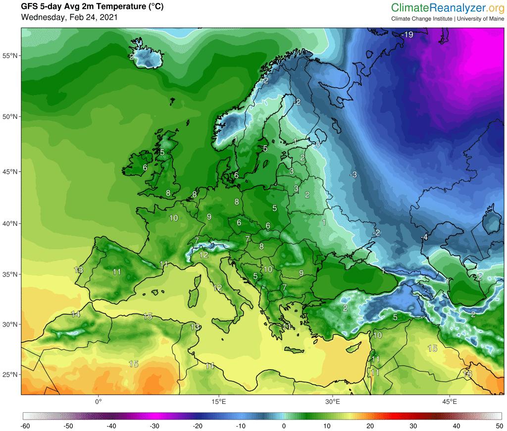 Pogoda. Średnia temperatura dobowa na okres od 24.02.2021 do 1.03.2021.