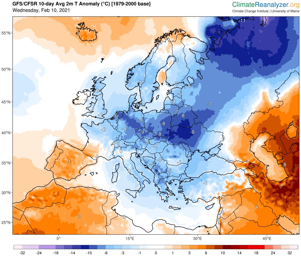 prognozowana anomalia temperatury na 10 dni względem starego okresu referencyjnego 1979-2000.