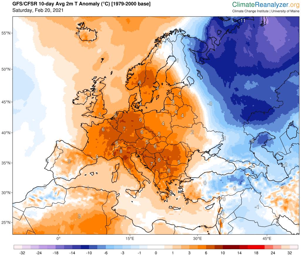 Pogoda długoterminowa. Prognoza anomalii na 10 dni.
