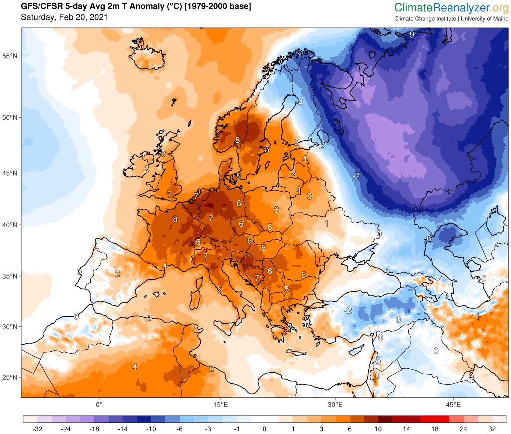 Prognoza anomalii temperatury.