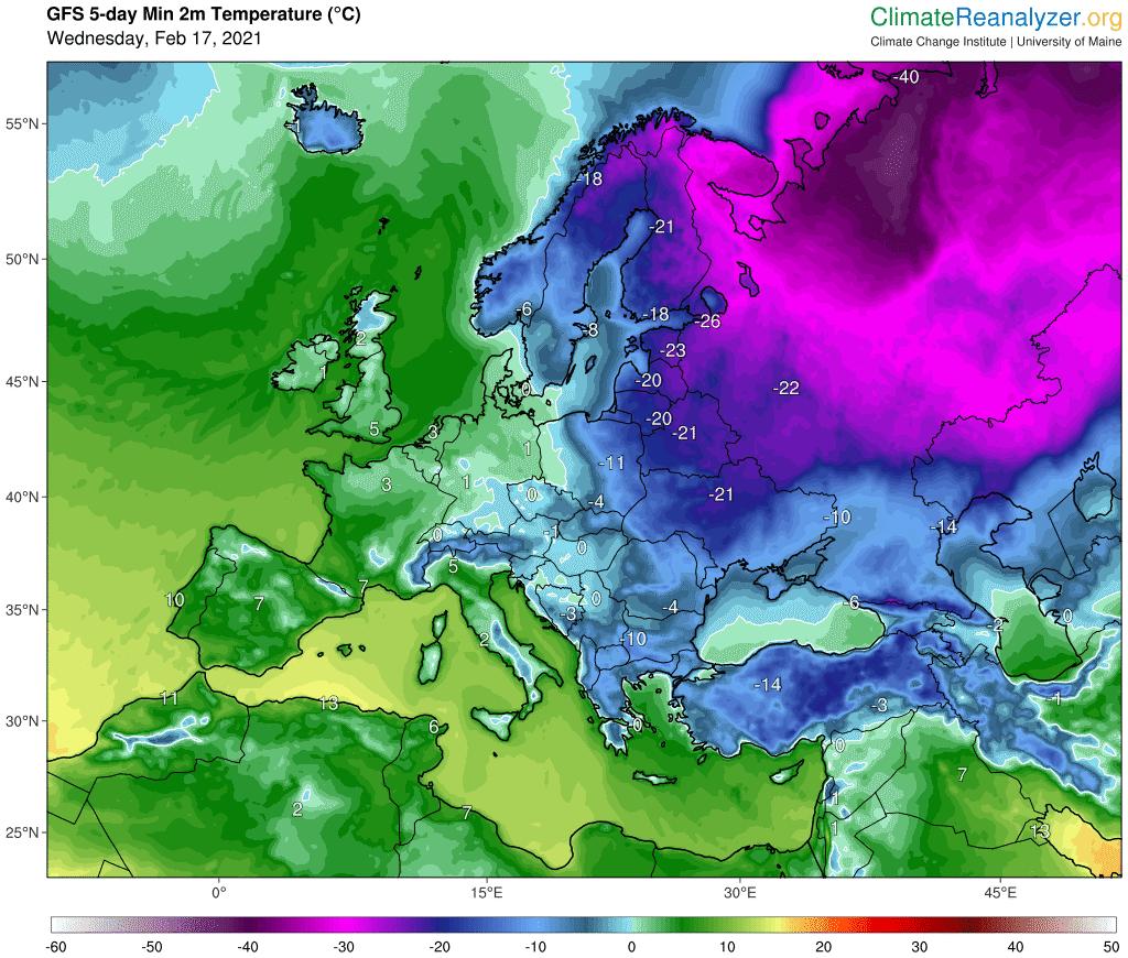 Prognozowana minimalna temperatura powietrza w najbliższych 5 dniach na obszarze Polski.