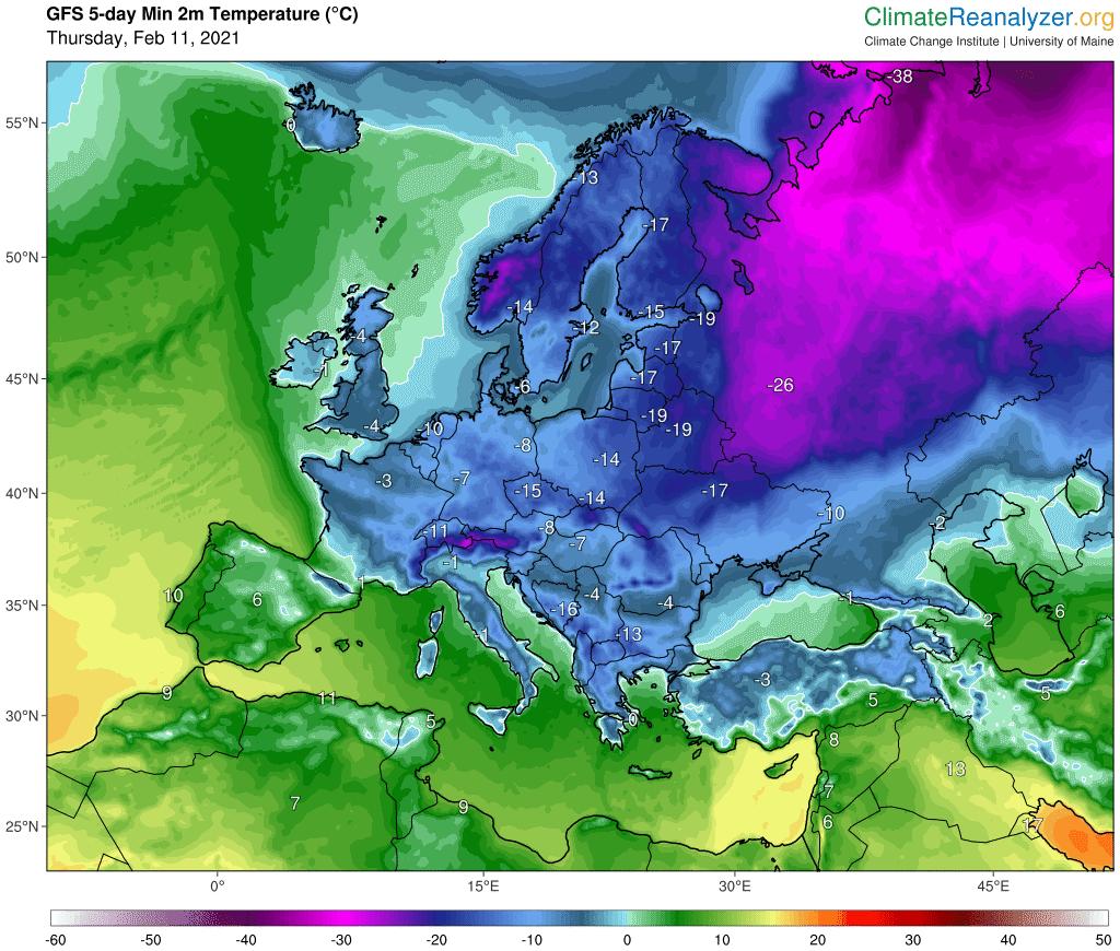 Minimalna temperatura w Polsce