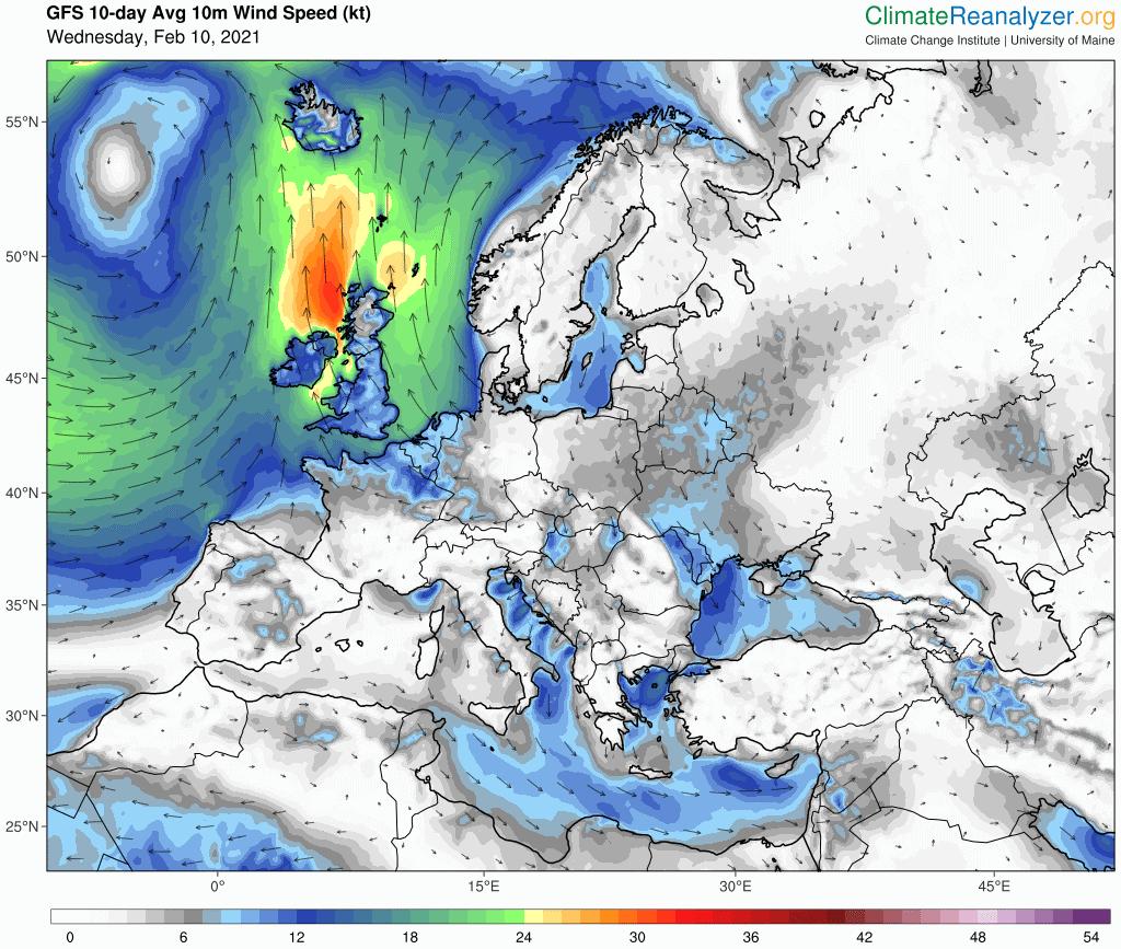 kierunek wiatru, średnia wartość na najbliższe 10 dni