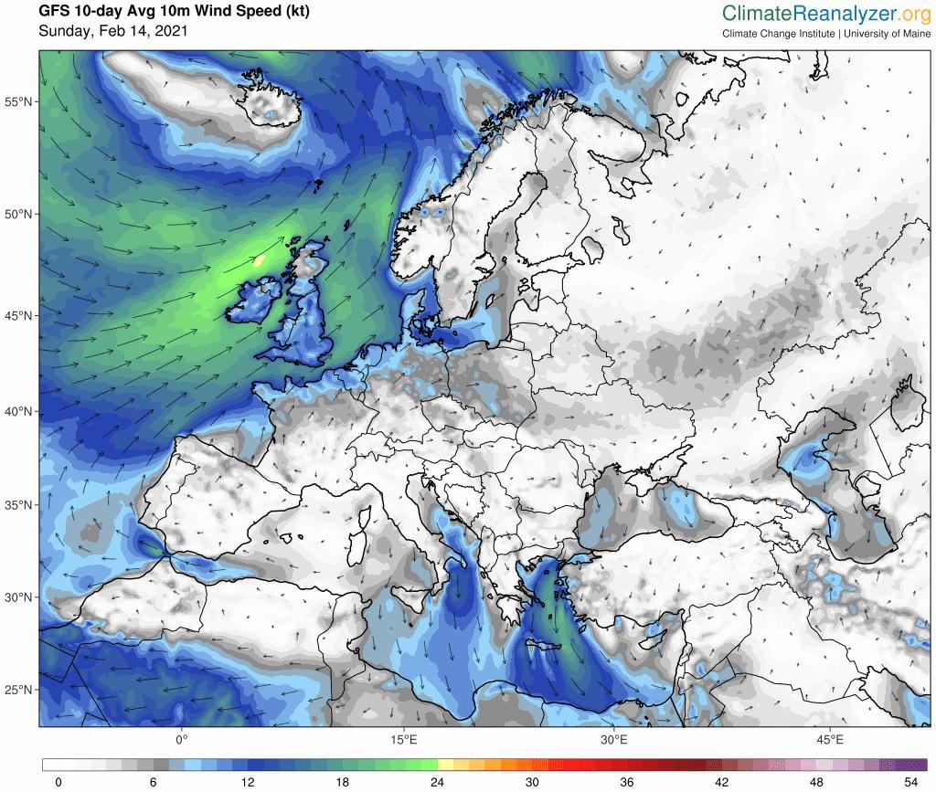 Prognozowany kierunek wiatru na 10 dni
