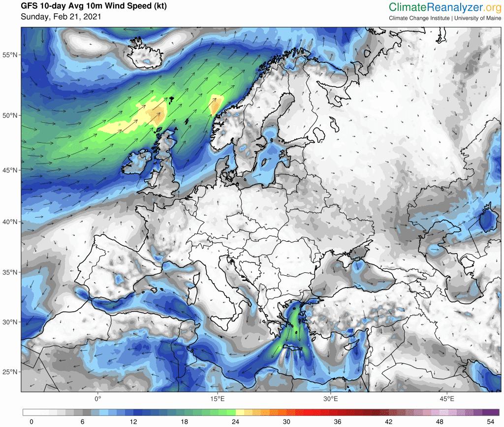 Wiatr w Polsce, 10 dni