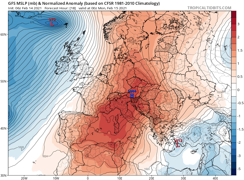Pogoda na noc 14/15 lutego 2021. Widoczne centrum wyżowe nad Austrią.