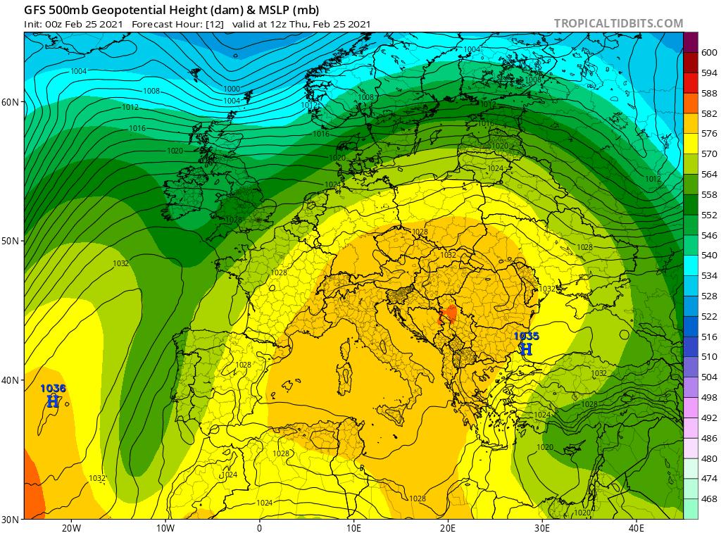 Pogoda. Układ. omega, 25.02.2021, środkowa troposfera