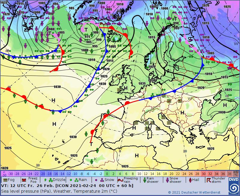 Prognoza sytuacji synoptycznej na dzień 26.02.2021, 12 UTC, DWD