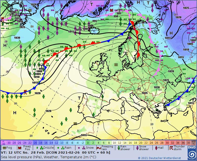Pogoda. Sytuacja synoptyczna na dzień 28.02.2021, 12 UTC
