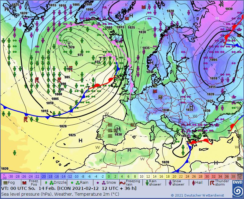 Pogoda na noc 13/14 lutego 2021. Sytuacja synoptyczna na noc dla Polski.
