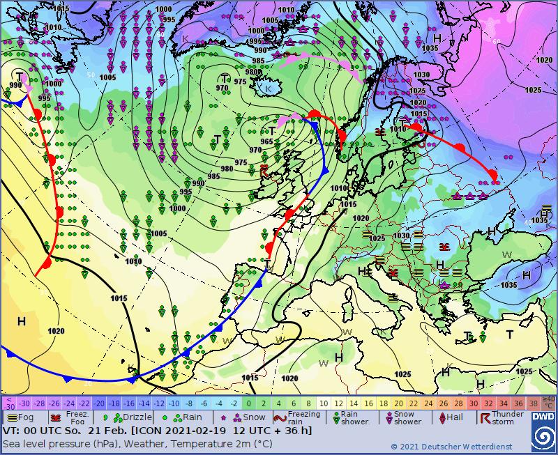 Pogoda. Sytuacja synoptyczna na dzień 21.02.2021, 00 UTC