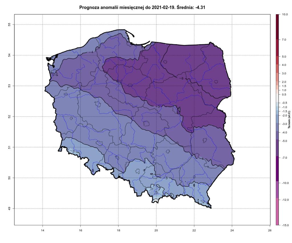Pogoda. Prognoza anomalii miesięcznej na okres od 1.02.2021 do 19.02.2021 dla Polski