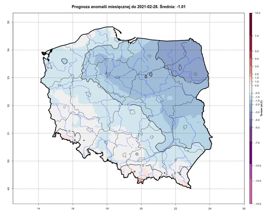 Prognoza anomalii miesięcznej do 28.02.2021 dla Polski.