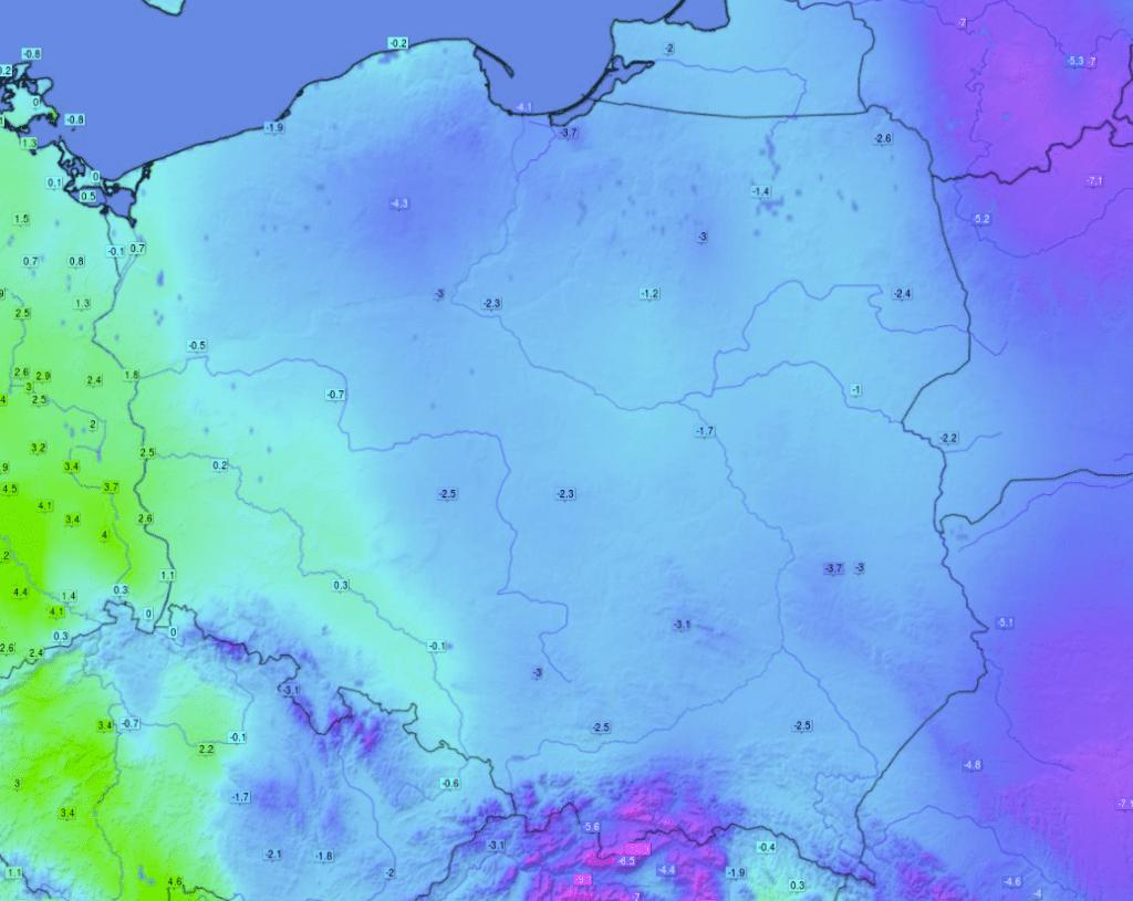 Temperatura powietrza o godzinie 12 we wtorek