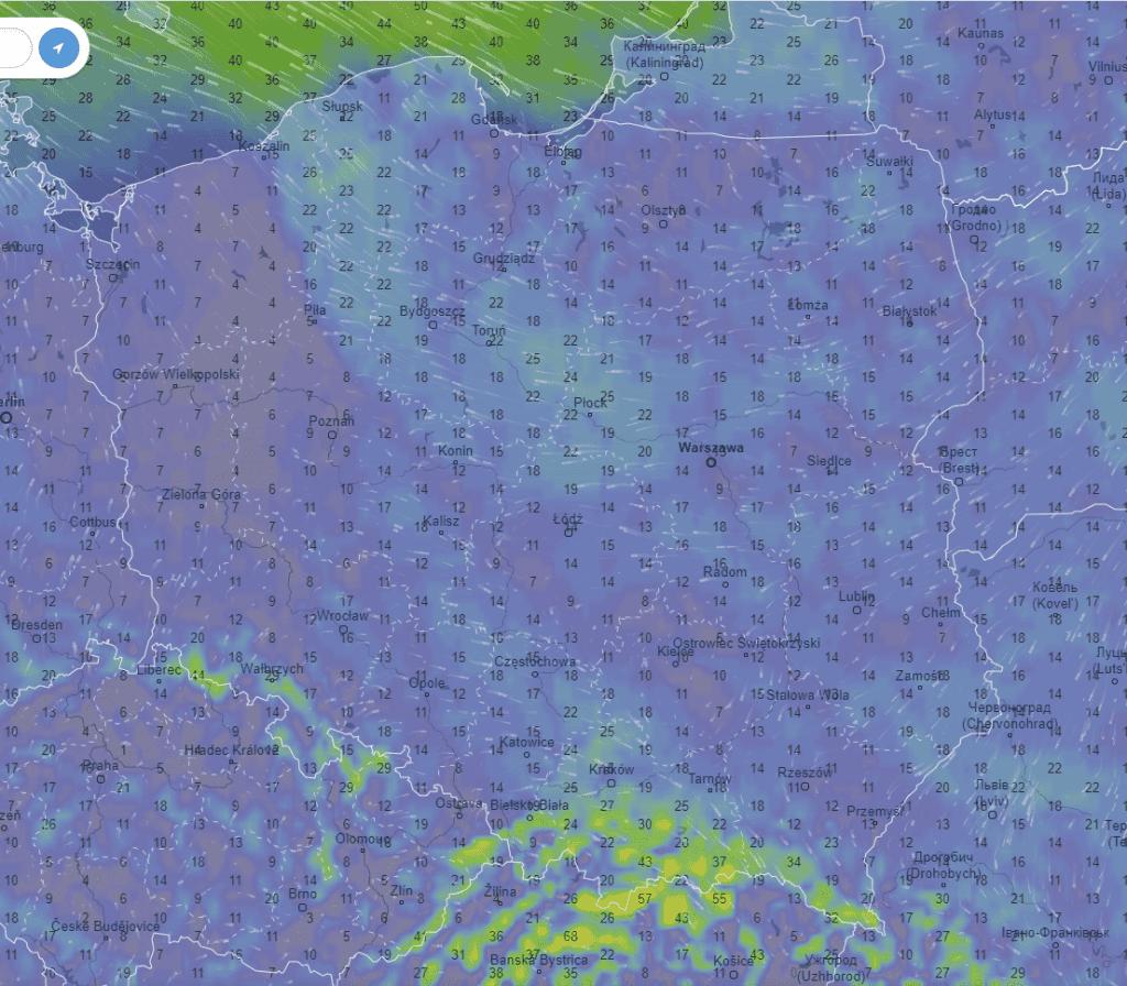 Pogoda. Wiatr w Polsce
