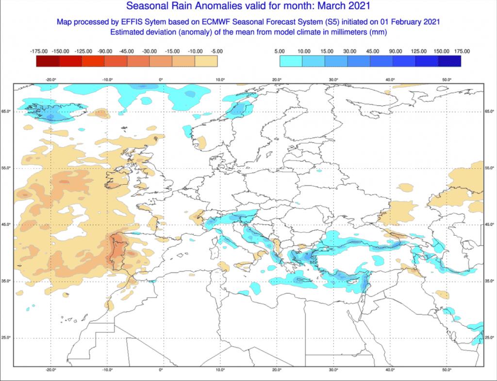 Opady w marcu 2021 według ECMWF