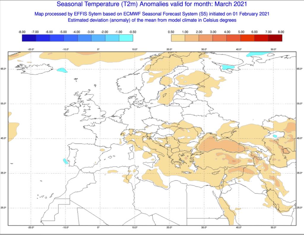 Pogoda. ECMWF, prognoza anomalii temperatury na poszczególne tygodnie.