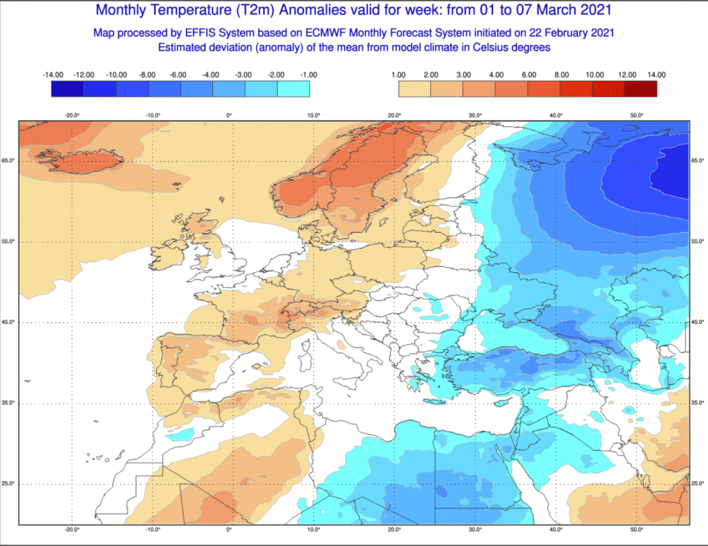 Pogoda długoterminowa marzec 2021 ECMWF.