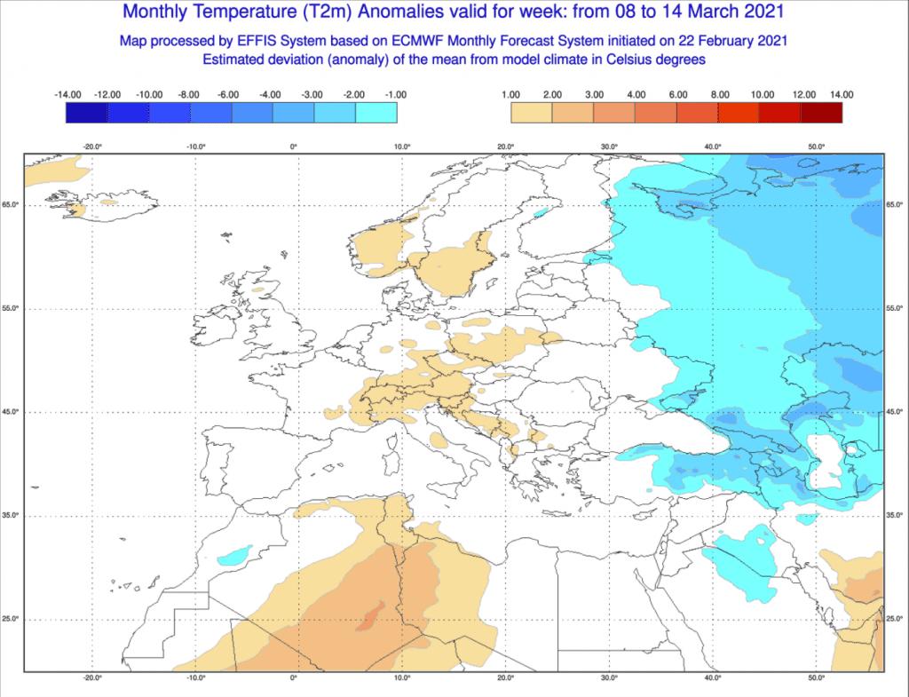 Pogoda długoterminowa marzec 2021 ECMWF - anomalie tygodniowe