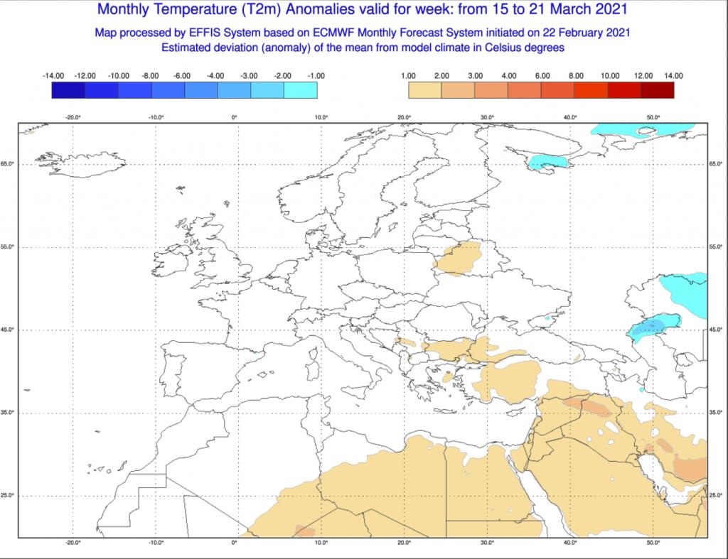 Pogoda długoterminowa marzec 2021 ECMWF. - anomalia na okres od 15.03.2021 do 21.03.2021
